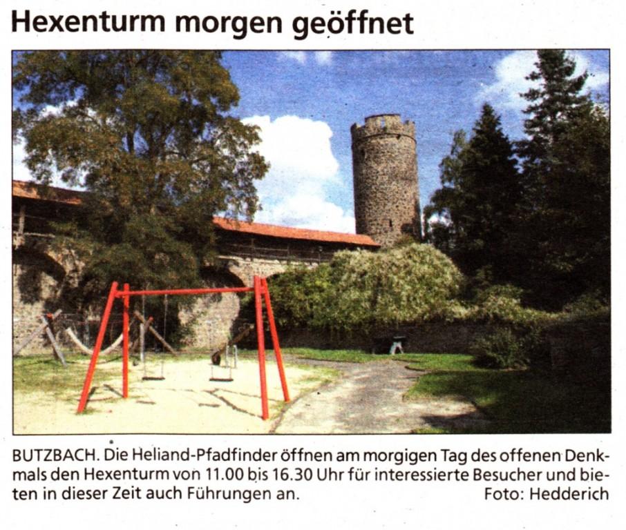 Butzbacher Zeitung Hexenturm vom 12. September 2015